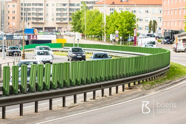 Anti-dazzle functions for safety barriers on roads