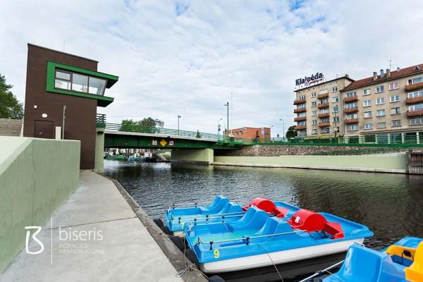 Traffic lights and automatic barriers at Klaipeda castle bridge